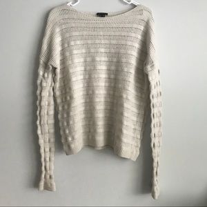 Theory Gray Striped Wool Long Sleeve Sweater